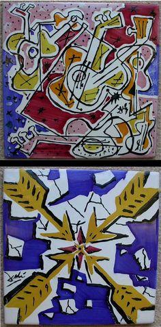 Les Guitares and Les Fléchettes tiles by Salvador Dali - 20th