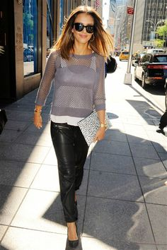 Pull off leather pants effortlessly like Jessica Alba did during a stroll through New York on Aug. 14, 2014. The brunette beauty topped off her fall look with a sheer sweater and tank.