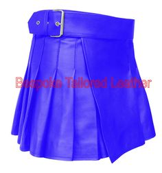 """Short Ultra Mini Leather Wrap Around Style Kilt (Custom Made to order)    13"""" Length from top of waist belt    Please see size gide to find your perfect waist fit     Actual Kilt Length 13inch/33cm. This item has a great finished look and easy adjustable strap to adjust the wrap around style for size and comfort fit, and has been finished off with chrome look buckle. This product is made from high quality leather. Most of our items can however be made in different colours and sizes so please…"""