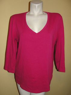 Chico True Color Tees Fushia Pink T-Shirt Knit Blouse 3/4 Sleeve Size 2 Large #Chicos #TShirt #Casual