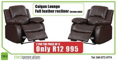 2 for the price Get these Calgan Lounge full leather recliners (brown only) for only 995 at Prices valid until 22 September 2016 or while stocks last. E&OE. Recliners, Leather Recliner, Are You The One, Beds, September, Chairs, Lounge, Brown, Power Recliners