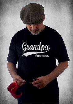 grandpa since . any year . gifts for men . grandpa shirt . men's t shirt . baby announcement . custom screenprint