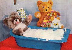 Vintage Postcard 60s bear takes a bath