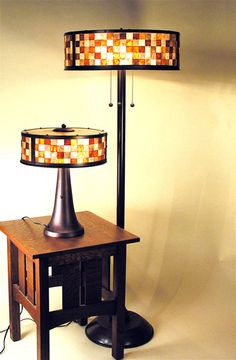 Mosaic Floor and Table Lamps - Square Mica in orange and almond pattern