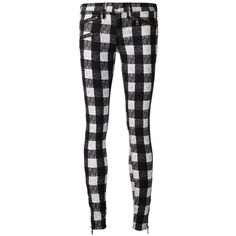 Rag & Bone /Jean plaid skinny trousers ($175) ❤ liked on Polyvore featuring pants, jeans, bottoms, trousers, black, super skinny pants, black skinny pants, black pants, black zipper pants y black skinny leg pants