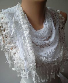 Christmas Gift White Lace Scarf Shawl Gift for her by SwedishShop