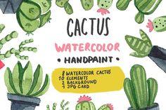 Watercolor cactus set by bosmoll on @creativemarket