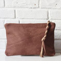 Kimi chocolate brown nubuck leather clutch // Shannon South // made in USA