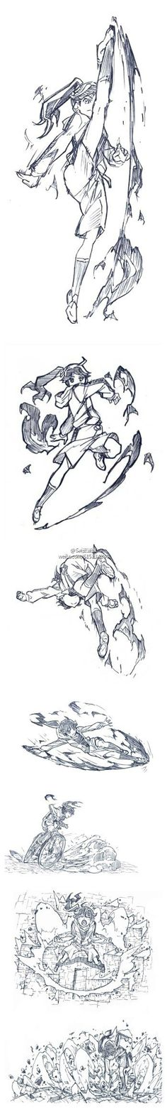 Girl doing action poses: kicking and boxing - drawing reference Drawing Reference Poses, Drawing Poses, Manga Drawing, Figure Drawing, Gesture Drawing, Movement Drawing, Character Poses, Character Design References, Character Art