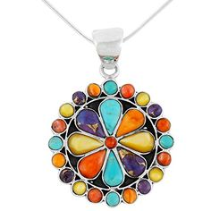 Gemstone Pendant Necklace in 925 Sterling Silver  Genuine Turquoise  Gemstones 20 Length >>> Click image to review more details.Note:It is affiliate link to Amazon. #NecklacesCollection