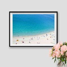 Modern Wall Art Beach People Coastal Decor Aerial Beach Print