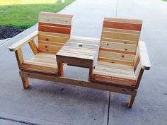 "Scrap wood garden bench. 60"" wide. Made by 52 Woodworks."
