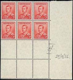 Шестиблок  не выпущенной марки  Австралии  1936 год. ( Эдуард VIII, 2п )         ...$  318 160.