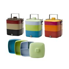 Gorgeous plastic tiffin/bento boxes. A great idea for taking salads to school or work. Via www.dwell.com
