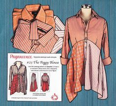 Upcycle dress shirt. Designed to fit women up to 6 feet tall.