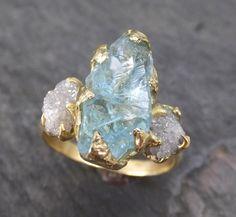 Raw Uncut Aquamarine Diamond Gold Engagement Ring Wedding 18k Ring Custom One Of a Kind Gemstone Bespoke Three stone Ring