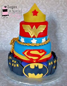 Super Hero Cake (WonderWoman,Supergirl,Batgirl)