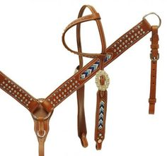 Showman One-Ear Headstall, Breast Collar, Reins Set With Beaded Inlay