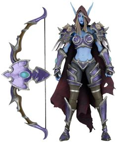 """NECA Heroes of the Storm Series 3 Sylvanas Action Figure, 7"""". Heroes of the Storm 7in action figure series 2 assortment includes Sylvanas from world of Warcraft. Stands about 7 inches tall with over 25 points of articulation. Features: fabric cloak; bow and arrow accessory. Game authentic sculpts."""