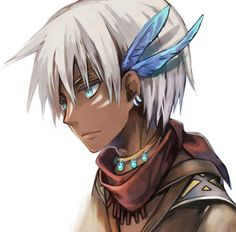 Anime...Boy...Native-American...Handsome...White-Hair...Blue-Eyes... Blue-Feathers... Silver-Earrings... Blue-Gem-Necklace...Red-Scarf...Leather-Jacket...White-Background...***