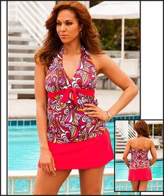 bde2e016a781d Swim Sexy New Tribes Plus Size Tie Front Halter Red Slit Skirtini
