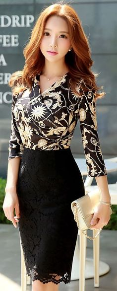 Floral Mock Wrap Top, Black Lace Pencil Skirt -- like both these pieces, and they could both work well with other items too!