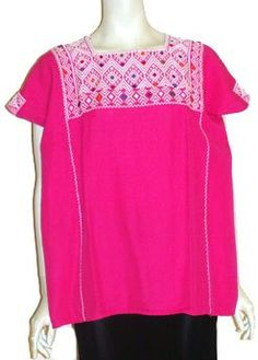 Mexican Hot Pink Huipil Blouse by Nelda's Vintage Clothing  | followpics.co