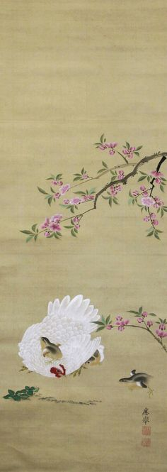 One of three Japanese hanging scrolls. Hen, chicks and plum blossom (right). Ink and colors and gold on silk. Maruyama Okyo (円山応挙). 1786. British Museum.