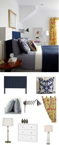 Navy also provides a soft palette for bedroom decor, unobtrusively working with small accents (like that curtain).
