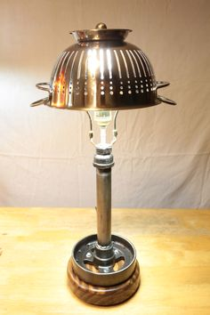 Mossy's Colander Lamp. mossysmostwanted.com Modern Industrial Furniture, Old Car Parts, Old Oak Tree, Old Cars, Furniture Design, Art Pieces, Table Lamp, Steel, Wood