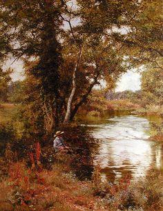 Fishing by Edward Wilkins Waite Landscape Art, Landscape Paintings, Oil Paintings, Deep Forest, Classical Art, Autumn Art, Illustrations, Old Art, Tree Art
