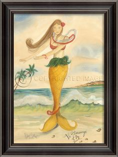 "21 3/8"""" x 28 3/8""""black bevel-framed Stowaway of the Beach Mermaid. Love the tropical themes and palm trees! Think about grouping together a series of these special pieces of coastal art. From Kolene"
