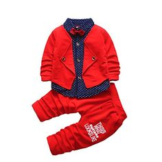 Baby Boy Dress Clothes Toddler Outfits Infant Tuxedo Formal Suits Set Shirt + Pants: Kevin Toddlers Outfits Long sleeve, turn-down collar, single breasted, front snaps, bowtie Baby Boy Dress Clothes, Boys Dress Outfits, Toddler Boy Outfits, Cute Baby Clothes, Baby & Toddler Clothing, Baby Boy Outfits, Kids Outfits, Children Clothing, Infant Toddler