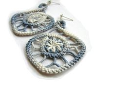 Gray grey earrings spiral lace earrings for by TinyOrchidsJewelry, $30.00