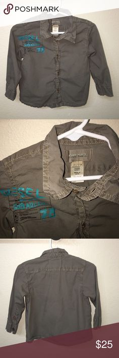 Authentic Diesel baby button up signature shirt 12 Authentic Diesel baby button up signature shirt 12 months good condition few light water spots Diesel Shirts & Tops Button Down Shirts