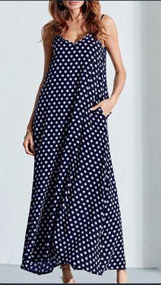 Spring/Summer Polka Dot Long Maxi Dresses