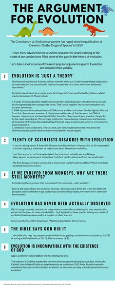 """the main arguments of evolution theory 15 answers to creationist nonsense rebuts some of the most common """"scientific"""" arguments raised against evolution essential to evolution theory."""