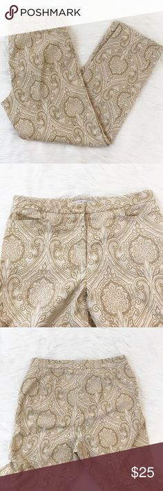 """Real Clothes Saks Fifth Avenue Ankle Pants These are a pair of Real Clothes Saks Fifth Avenue Ankle Pants in EUC. No stains or rips. They are a cream and tan brocade pattern. They say dry clean only, but they've been washed on gentle cycle. They're cotton, so not sure why they'd have to be dry cleaned. They are a thicker cotton, almost jean like. Materials are 98% cotton, 2% spandex. Approximate measurements are Waist:15"""", Inseam:28"""". Real Clothes Saks Fifth Avenue Pants Ankle & Cropped"""