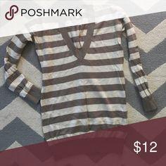 EUC Cashmere/Cotton Gap Sweater EUC Cashmere/Cotton Gap Sweater. Size Small. Tan/cream stripes. Perfect for fall! GAP Sweaters V-Necks