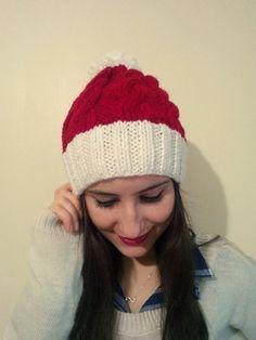 Hand knit beanie, Handmade beanie, Knit beanie, Christmas, Christmas Beanie , Christmas Hat , PomPom Women Beanie , Women Hat