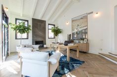Christina & Ant Anstead's New Home | Christina on the Coast | HGTV Cottage Living Rooms, Coastal Living, Coastal Style, White Countertops, Loft Spaces, Office Spaces, Modern Farmhouse Style, Home Pictures, Awesome Bedrooms