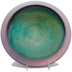 Maishe Dickman Hand Thrown Stoneware Turquoise Serving Bowl, Artistic Artisan Pottery