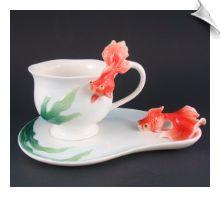 Gallant Craft Porcelain GOLDFISH Tea Cup & Saucer Set