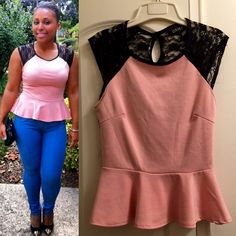 Lace back peplum top  Pink front • peplum • all lace in the back • worn once • fun n flirty look Tops