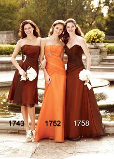Orange And Brown Dresses Wedding Bridesmaid Attire Gowns Color