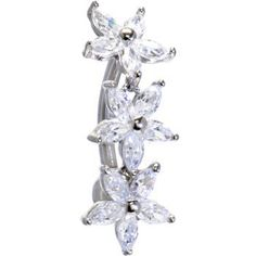 Solid 14kt White Gold Top Mount Cubic Zirconia Lily Drop Belly Ring Body Candy. $195.20. Solid White Gold. Genuine Cubic Zirconia