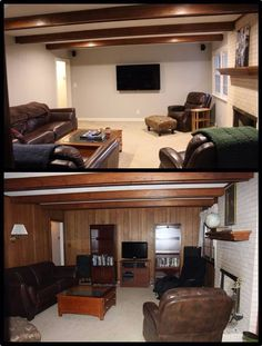 3 Marvelous Clever Ideas: Living Room Remodel With Fireplace Joanna Gaines living room remodel with fireplace interior design.Livingroom Remodel Hardwood Floors living room remodel on a budget projects.Living Room Remodel With Fireplace Joanna Gaines. Paint Over Wood Paneling, Wood Paneling Makeover, Basement Makeover, Wood Panel Walls, Plank Walls, Paneling Ideas, Painting Paneling, House Painting, Diy Painting