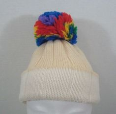 5b171193940 Snuggler Ski Hat Beige And White Rainbow Pom Pom Toboggan Knit Cap Wool