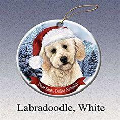 Holiday Pet Gifts Labradoodle, White Santa Hat Dog Porcelain Christmas Tree Ornament White Christmas Ornaments, Dog Christmas Gifts, Santa Ornaments, Christmas Animals, Christmas Tree, Gifts For Dog Owners, Pet Gifts, Dog Lover Gifts, Dog Lovers