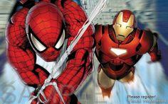 Iron MAN V Spider MAN Poster Print | eBay